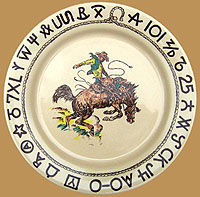 RD01 Rodeo Pattern Dinner Plate  sc 1 st  True West & Rodeo Cowboy Western Dinnerware Westward Ho Wallace China dishes by ...