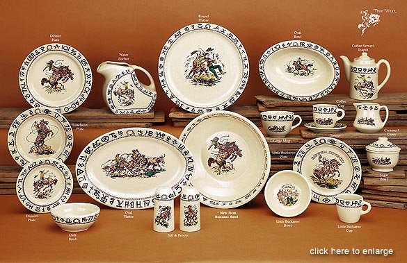 Rodeo Cowboy Western Style Dinnerware & Rodeo Cowboy Western Dinnerware Westward Ho Wallace China dishes by ...